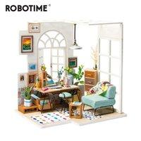 Robotime diy سوهو الوقت مع اثاث الأطفال الكبار مصغرة خشبية دمية البيت نموذج بناء أطقم دمية لعبة هدية DGM01 201215