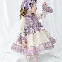 Neonata autunno primavera manica lunga a manica viola palazzo turco vintage principessa ballo abito abito per ragazza compleanno Chritmas