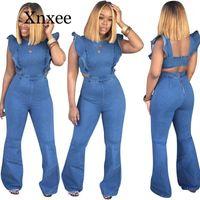 Monos de mujer Mamélicos Sexy Azul Largo Jumpsuit Mujeres Elegancia Monos de las mujeres Desgaste de verano Suspender Jeans Pantalones Spandex Solid1