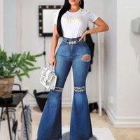 Jeans das mulheres Flare-perna Mulheres Cintura alta Bell Bottom rasgado 2021 para Denim Skinny Mamãe Lareira Pants1