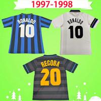 Inter Milan soccer jersey # 10 RONALDO 1997 camisa de futebol 1998 Retro camisa de futebol preto 97 98 classic Djorkaeff SIMEONE Moriero ZAMORANO Vintage Maglia da calcio