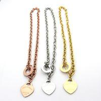 العلامة التجارية الشهيرة الحلي 316l التيتانيوم الصلب 18 كيلو الذهب مطلي قلادة سلسلة قصيرة الفضة رجل القلب قلادة قلادة للنساء زوجين هدية