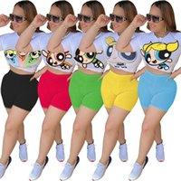 Kadın Eşofman Şort Tasarımcı Kadınlar 2 Parça Kıyafetler Yaz Giysileri Karikatür Baskı Eşofman Kısa Kollu T-shirt Biker Pantolon Spor Takımları Spor Giyim Artı Boyutu,