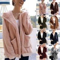 النساء الخريف الشتاء فو طويل الأكمام سترة مقنعين الحفاظ على معطف دافئ الإناث الصلبة سترة الأزياء 2020 جيب أبلى أخضر