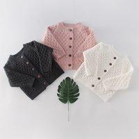 봄 가을 의상 아기 소녀 소년 유아 어린이 스웨터 니트 솔리드 컬러 다이아몬드 코트 자켓 All-Match Cardigan 201110