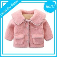 Детские девочки Лам шерстяные пальто Детская зимняя одежда