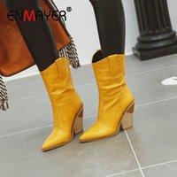 ENMAYER 2020 New PU High Heel Boots Basic Slip-On Pointed Toe Ankle Boots for Women Spike Heels Crocodile Grain Women