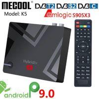 أحدث mecool k5 2 جرام 16 جرام الذكية التلفزيون مربع الروبوت 9 9.0 amlogic s905x3 2.4 جرام 5g wifi lan 10 / 100m media player pvr تسجيل مربع التلفزيون