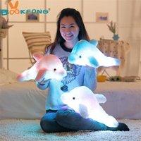 BOOKFONG 45cm Bunte LED-Lichtkissenkissen Nette Delphin-Stofftuch Plüschpuppe Spielzeug Mädchen Geburtstagsgeschenk 201215