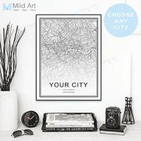 Пользовательский мир карта города персонализированный северный стиль черный белый плакат и отпечатки стены искусства картинки дома декор холст живопись подарки T200118