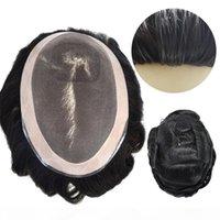 Fine Mono Remy Hair Mens Toupee Poly Skin em torno de 140% Médio Densidade pesada substituição de cabelo para homens