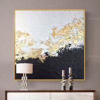 Wand Dekorative Malerei Handgemalt Wandkunst Leinwand Malerei Abstrakte Goldene Folie Bilder Für Wohnzimmer Kein Rahmen Z1202