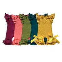 Популярные цвета оливкового слива павлина горчицы коралл оптом детские платья комбинезон хлопчатобумажный рукав рукав двойной рэш капризы rampers y200320