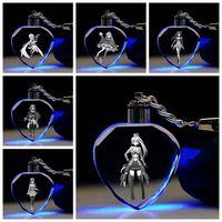 Magia Meninas Coração Em forma de Anime LED Chaveiro Keyring Cristal Keychain Keychain Keyholder Unisex Presentes Novo