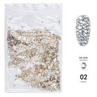 1440 ADET Çok Boyutları Cam Kristal AB Rhinestones Nail Art Craft için, Mix SS3-SS20 Flatback Kristalleri 3D Süslemeleri Taşlar Gems