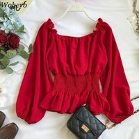 Woherb Off Epaule Chemisier Chemisier Femmes Summer Tops Mode Coréen Élégant Chemise Vintage Slim Slim Shirt 21969 201125