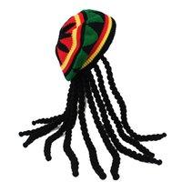 가발 모자 니트 힙합 브레이드 모자 남성 자메이카 밥 마르리 라스타 비니 겨울 고라 홈 브레 Dreadlocks 레게 크자 Zimowa