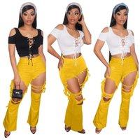 Toplam Renkler kadın Moda Delik Flare Kot Bahar Yaz Bayanlar Trendy Tayt Pantolon Giysileri Sıska Pantolon Artı Boyutu S-3XL H12102