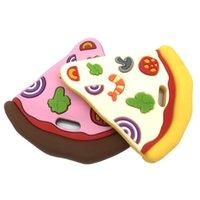 Guarderías de goma de silicona de pizza sin BPA Juguetes de la dentición de los bebés Regalos de ducha en forma de vara de grado alimenticio KWD