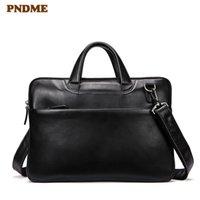 HBP PNDME Black Couro Genuíno Masculino Mulheres Business Pasta Casual Soft Soft Cowhide Laptop Bolsa de ombro Pequenas bolsas de trabalho Q0112
