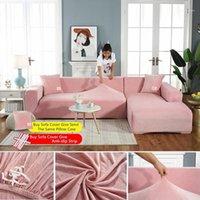 Ailife sólido pelúcia engrossar sofá elástico capa para sala de estar slipcover secional veludo 1/2/3/4 stretch stretch capa1