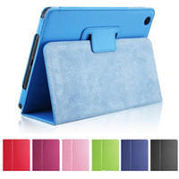 Litchi Leather Case Case Flip Folding Folio Cover for iPad Air 2 Mini 2 3 4 iPad Pro 9.7 10.5 11 حالات