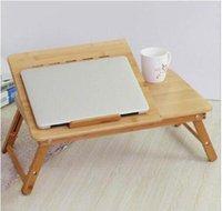 Tragbare Klappbambus-Laptoptisch-Tisch-Sofa-Bett-Büro-Laptop-Standschreibtisch mit Fan-Bett-Tisch für SQCMNL-HaarschlüsselShop