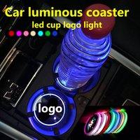 2pcs LED tazza auto titolare logo logo per Toyota Nissan Ford BMW Mercedes Audi Jeep USB caricamento in carica luminosa per montagne russe accessori