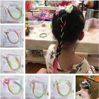 귀여운 다채로운 유니콘 가발 머리핀 아기 소녀 hairclip barrettes 가짜 머리 트위스트 브레이드 머리 장식 만화 스타 헤어 리본 액세서리 6 색