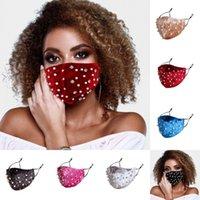 2021 Yeni Moda Tasarımcısı Rhinestone Inciler Yüz Maskesi Kış Sıcak Kadife Ağız Kapak Toz Sis Anti-kirliliği FaceMasks