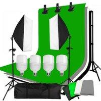 Zuochen 4PCS 25W LED фотостудия Софтбокс мягкий ящик Освещение с 4 фона фона поддерживать подставку для Facebook Live1