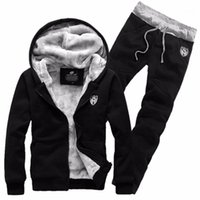 Marke Mode Dicke Samt SPORTING Anzug Männer Warme Mit Kapuze Trainingsanzug Track Hoodie Schweißanzüge Set Zipper Black Sweatshirts1