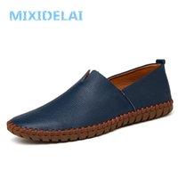 Mixidelai Hakiki İnek Deri Erkek Loafer'lar Moda El Yapımı Moccasins Yumuşak Deri Mavi Erkekler Tekne Ayakkabı Üzerinde Kayma Artı Boyutu 38 ~ 48 201212