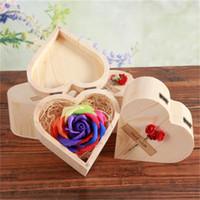 Liebes-Herz-Woodiness-Boxen mit bunten Blumen-Holzkasten-Seifenblume Valentines-Tag Sieben Farben Rosen Wedding Festival Nützlich KKD3590