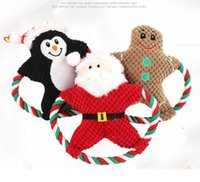الحيوانات الأليفة أفخم مضغ لعبة الكلب الصوتية الكرتون القطن حبل عيد الميلاد لعبة عيد الميلاد جرو مولي دمية دمية الحيوانات الأليفة هدايا عيد CYF4561-1