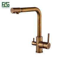 FLG 100% Messing Antique Mixer Swivel Trinkwasser Wasserhahn 3 Way Wasserfilter Reinigungsküchenarmaturen für Senken Taps 242-33A T200810