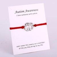 Charme Bracelets Autisme Sensibilisation Jigsaw Ruban Puzzle Pièces Puzzle Corde Chaîne Bijoux Femmes hommes Girl Girl Unisexe cadeau Drop 1