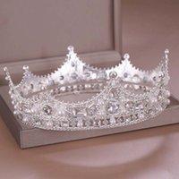 Forseven Retro Barock Gold / Silber Farbe Kristallperlen Runde Tiara Kronen Stirnband Für Braut Noiva Hochzeit Frauen Geburtstagsfeier Y1130