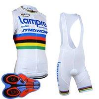 남성 프로 팀 Lampre 사이클링 민소매 저지 턱받이 반바지 UCI 세계 여행 여름 통기성 자전거 Clthing 야외 자전거 유니폼 Y092608