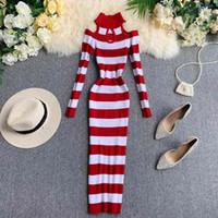 NICEMIX 2020 Inverno Nova Halter Feminino Hollow Out Knit Bainha de Malha Vestido Mulheres Listrado Cintura Elegante Pacote Hip Knitted LJ201114