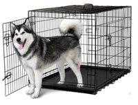 48 '' 2 двери проволоки складной Pet Crate Dog Cat Cage Cade чемодан Питомник Playpen с подносом