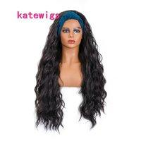 Parrucche nere della fascia nera dell'onda lunga dell'onda di acqua sintetica Blue Turban avvolgano i capelli ricci per le donne