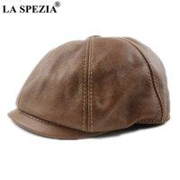 La Spezia Khaki Men's Newsboy gap حقيقي cowskin الجلود مثمنة كاب الذكور البيريه الخريف الشتاء الرجال خمر duckbill القبعات 201216