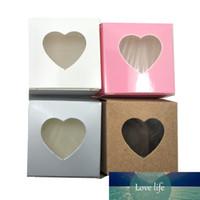 50pcs 5x5x5cm Boîte de paquet de papier kraft pliable avec une fenêtre en plastique transparente Candy DIY Cadeau Craft Bijoux Boîtes de rangement de la fête
