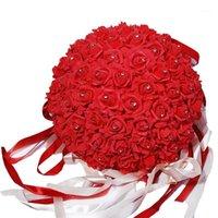 Heißer verkauf hochzeit künstliche rose seide blume ball hängende dekoration mittelstück blume küssen ball hochzeit blumenstrauß hause party1
