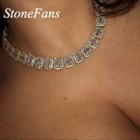 Stonefans Gold Crystal Rhinestone Choker collana Dichiarazione di gioielli Donne Collana hip-hop Uomo Bling Iced Out 2020 Grandi collane