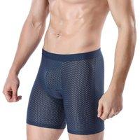 2 pçs / lote 4xl tamanho grande bambu masculino underwear etiqueta cuecas brand transparente boxer homem longo homem respirável malha calcinha homens y200415