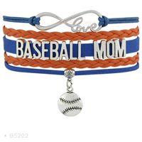 Charme pulseiras de alta qualidade infinito amor beisebol mãe treinadores coração luva amante moda feminina