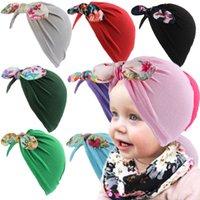 Kleinkind Neugeborene Baby Bowknot Hüte Big Bögen Kopf Wrap Caps Blumenstirnband Infant Headwrap Mützen Kinder Gilrs Haarband Ohrenschützer Kappe G10507