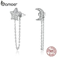 bamoer Moon and Star Chain Drop Earrings for Women 925 Sterling Silver Clear CZ Engagement Wedding Statement Jewelry BSE385